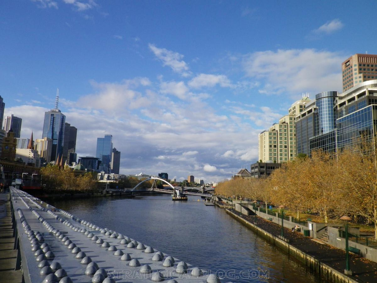Melbourne australia central business district view